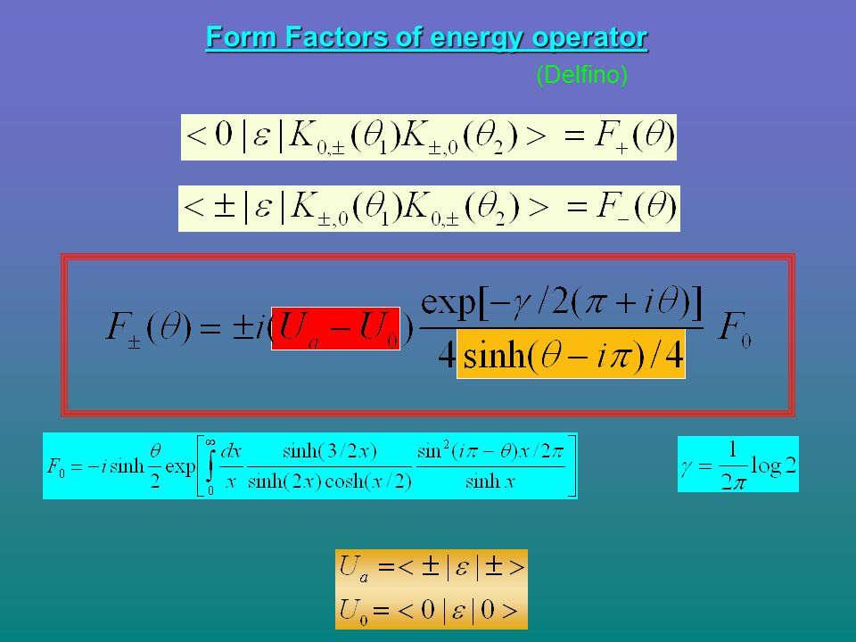 Form Factors of energy operator