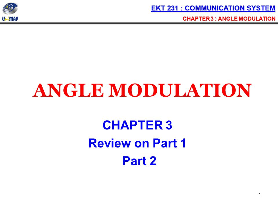 ANGLE MODULATION CHAPTER 3 Review on Part 1 Part 2