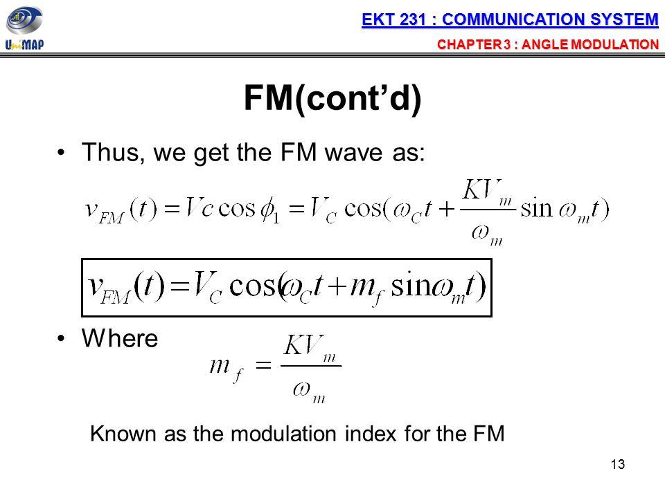 FM(cont'd) Thus, we get the FM wave as: Where