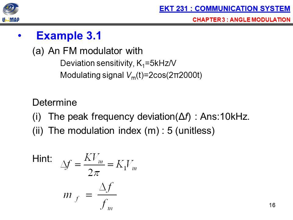 Example 3.1 An FM modulator with Determine