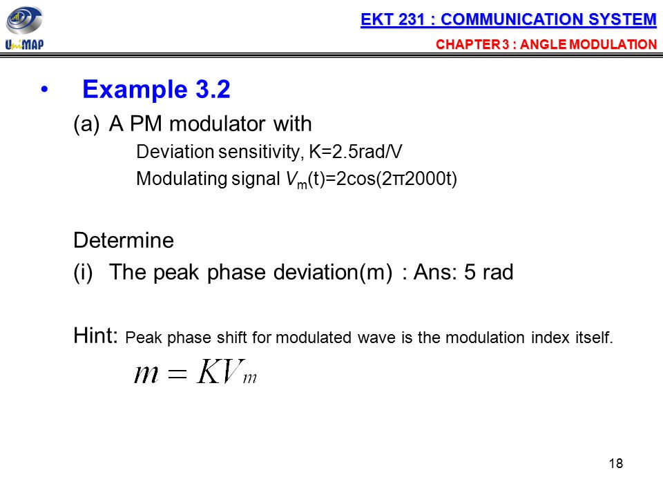Example 3.2 A PM modulator with Determine