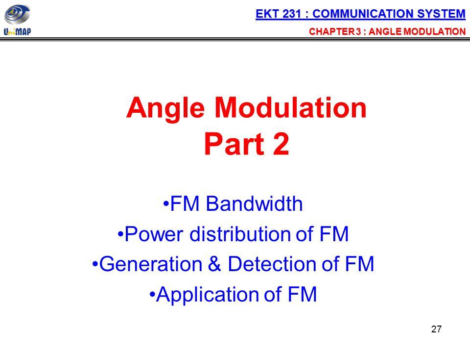Angle Modulation Part 2 FM Bandwidth Power distribution of FM