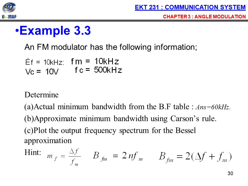 Example 3.3 An FM modulator has the following information; Determine