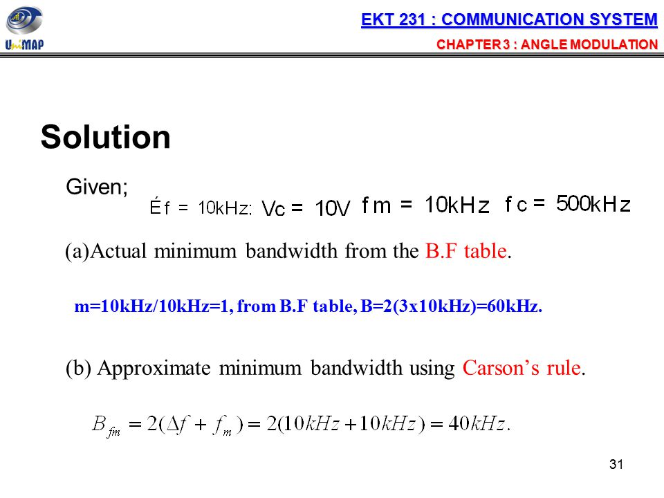 Solution Given; Actual minimum bandwidth from the B.F table.