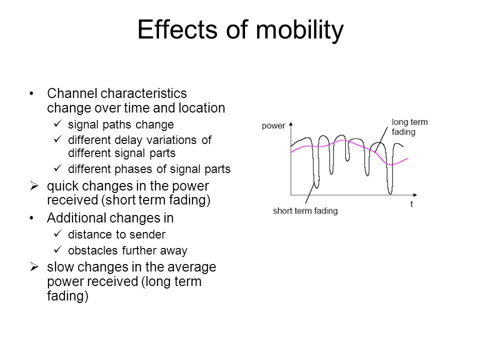Effects of mobility Channel characteristics change over time and location. signal paths change.