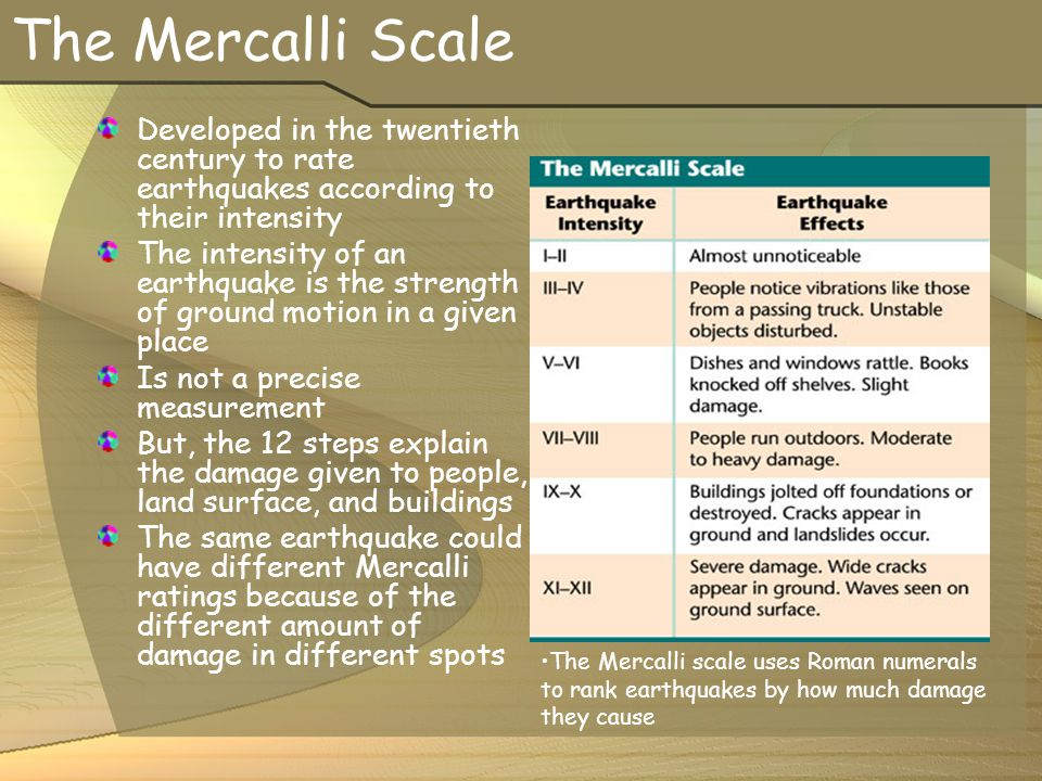 The Mercalli Scale Developed in the twentieth century to rate earthquakes according to their intensity.