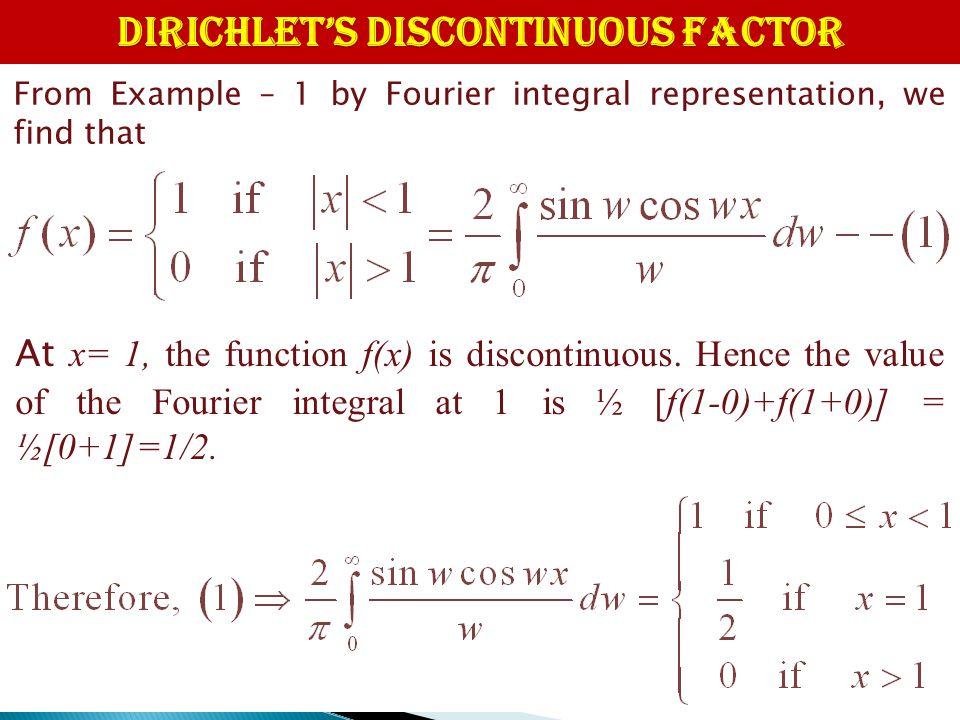 DIRICHLET'S DISCONTINUOUS FACTOR