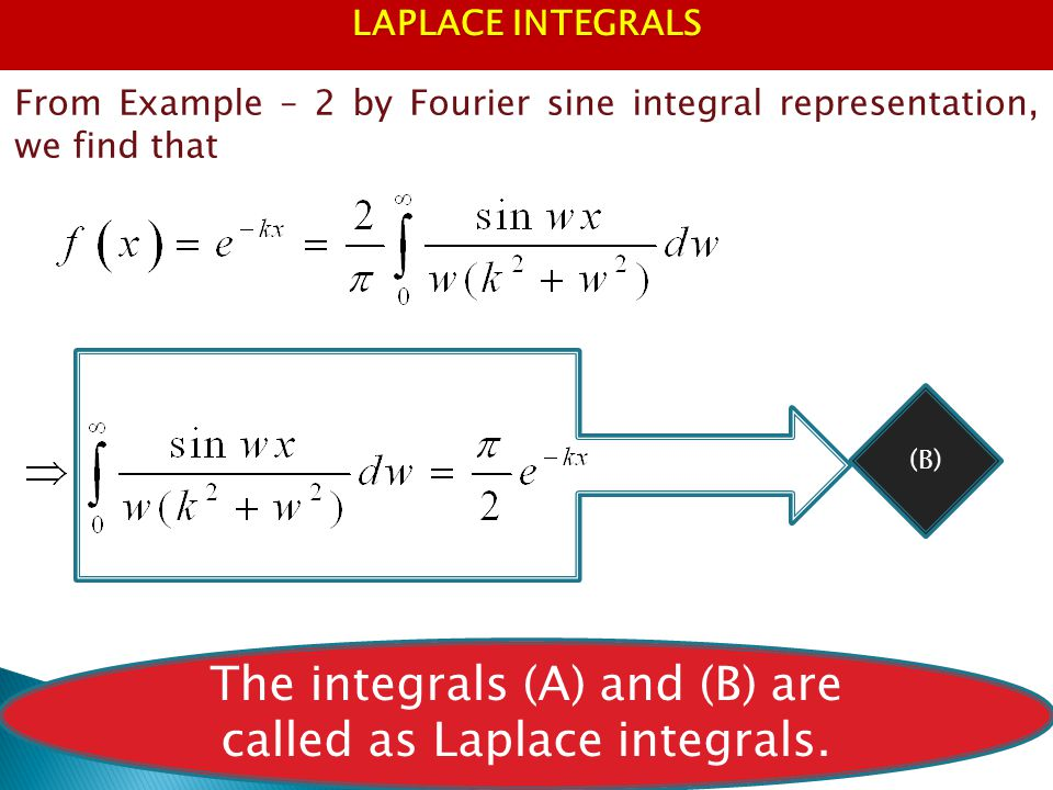 The integrals (A) and (B) are called as Laplace integrals.