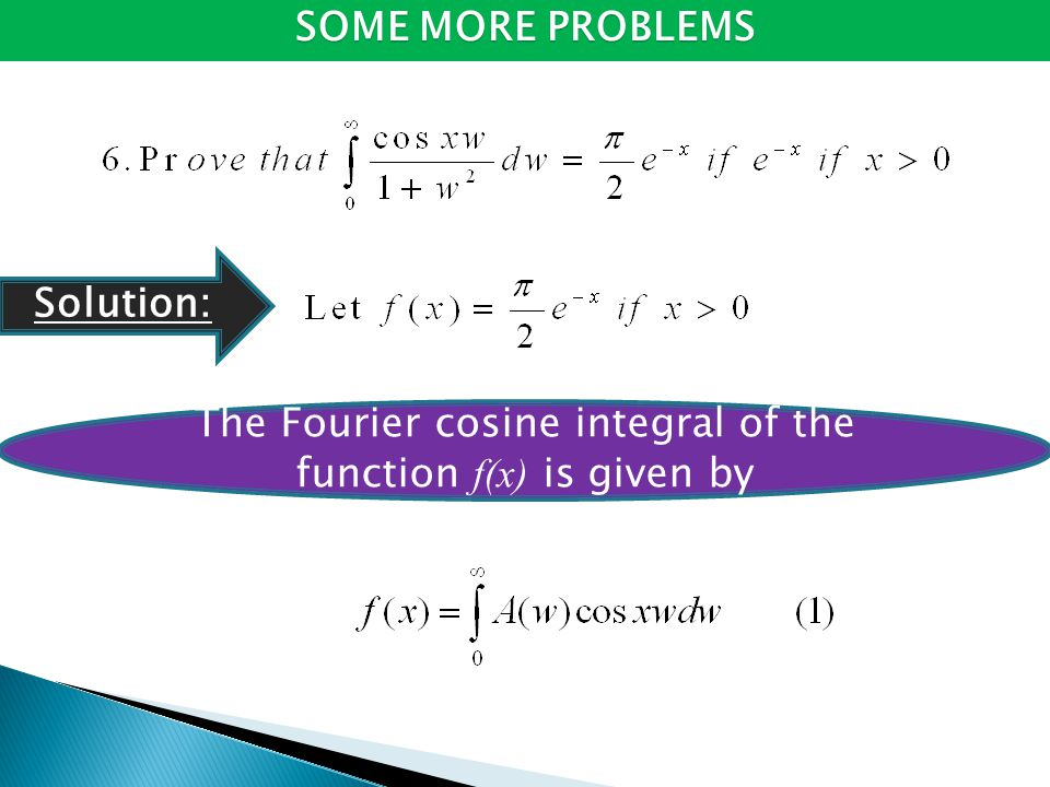 The Fourier cosine integral of the function f(x) is given by