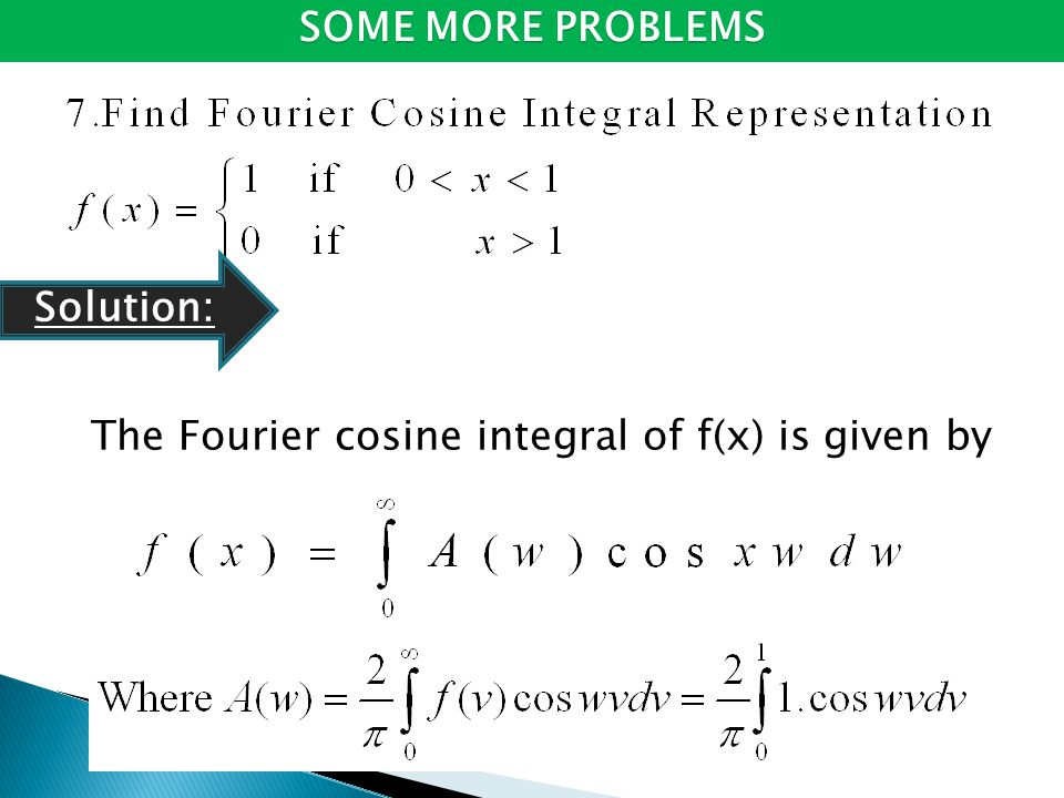 The Fourier cosine integral of f(x) is given by