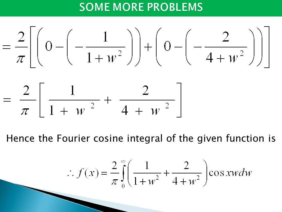 Hence the Fourier cosine integral of the given function is