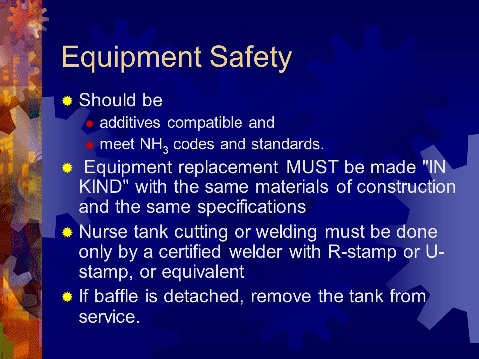 Equipment Safety Should be