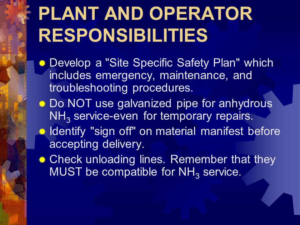 PLANT AND OPERATOR RESPONSIBILITIES