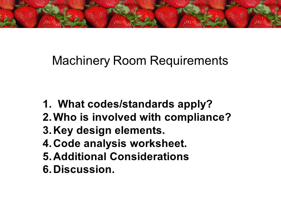Machinery Room Requirements