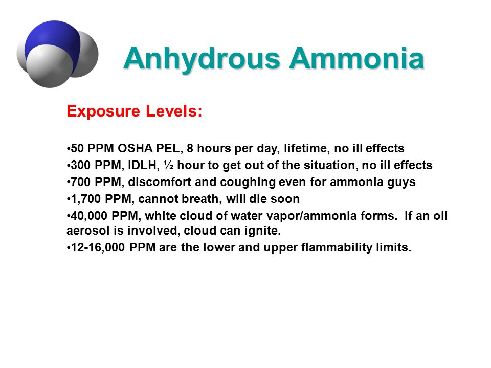 Anhydrous Ammonia Exposure Levels: