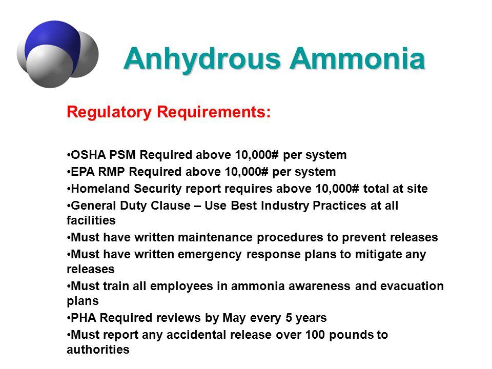 Anhydrous Ammonia Regulatory Requirements: