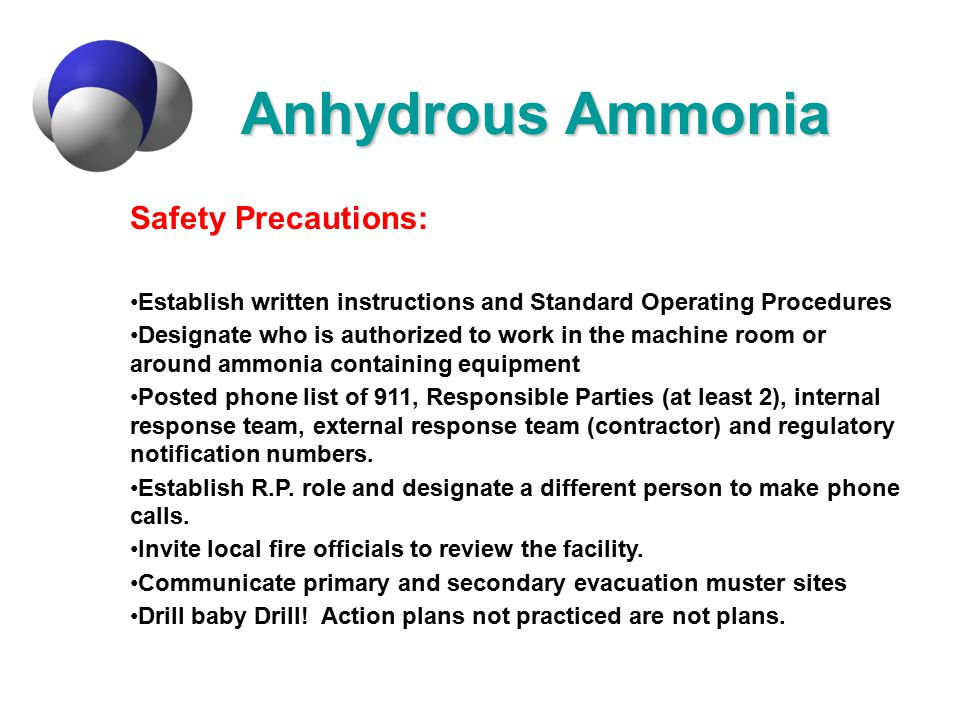 Anhydrous Ammonia Safety Precautions: