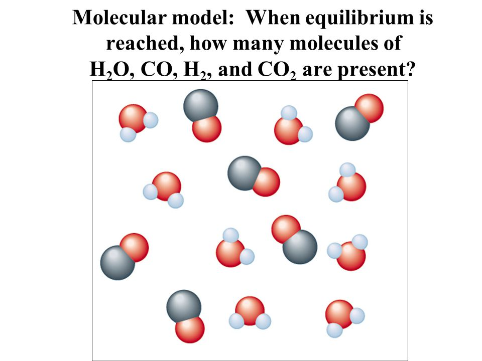 Molecular model: When equilibrium is reached, how many molecules of H2O, CO, H2, and CO2 are present