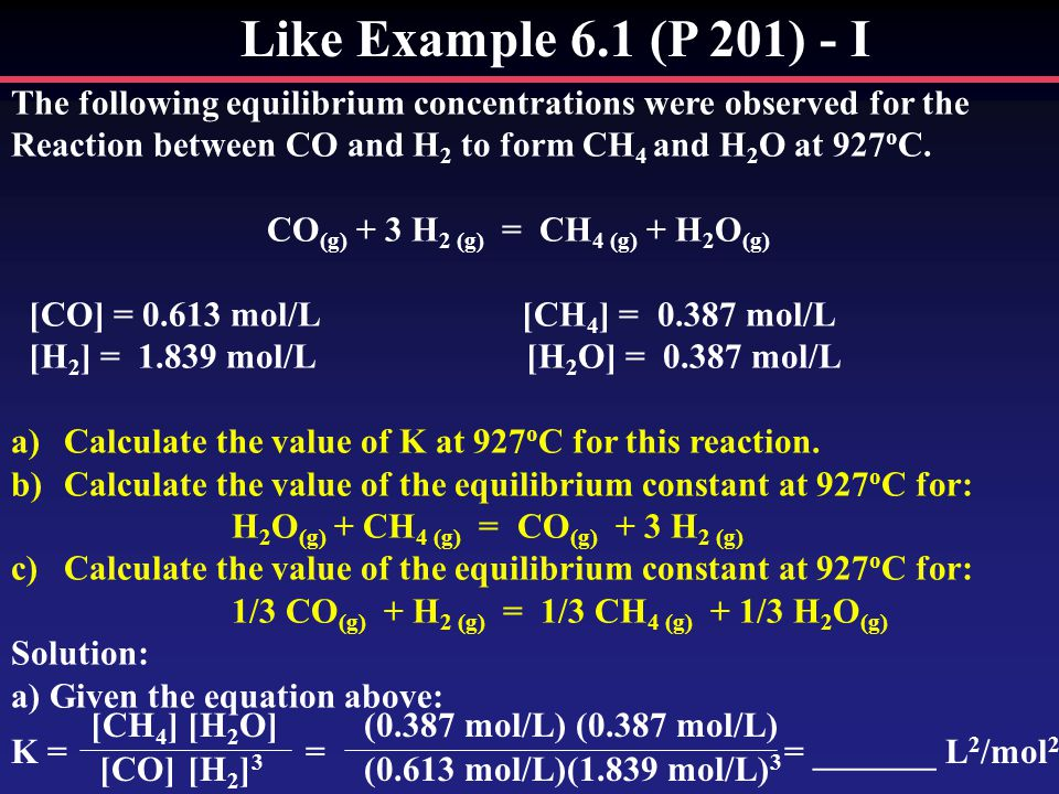 Like Example 6.1 (P 201) - I The following equilibrium concentrations were observed for the.