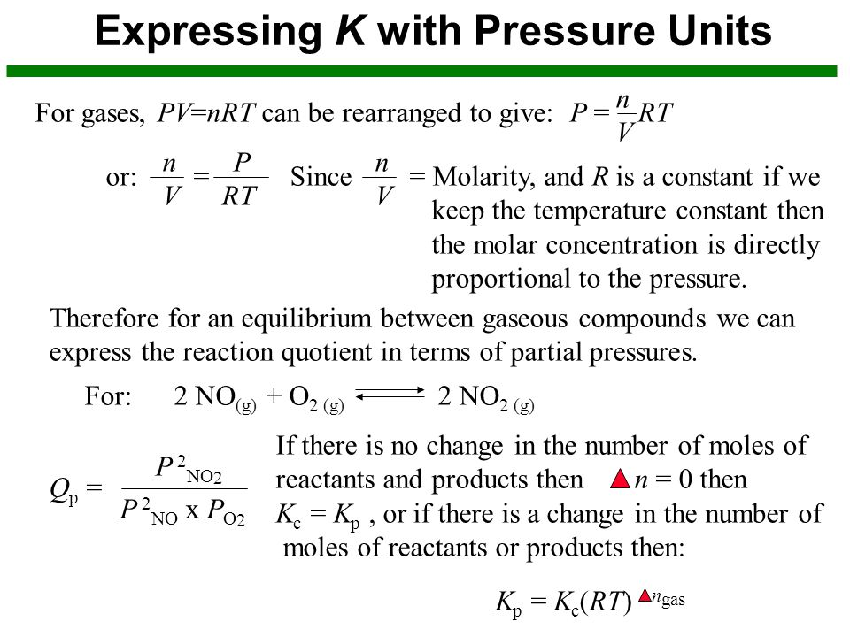 Expressing K with Pressure Units