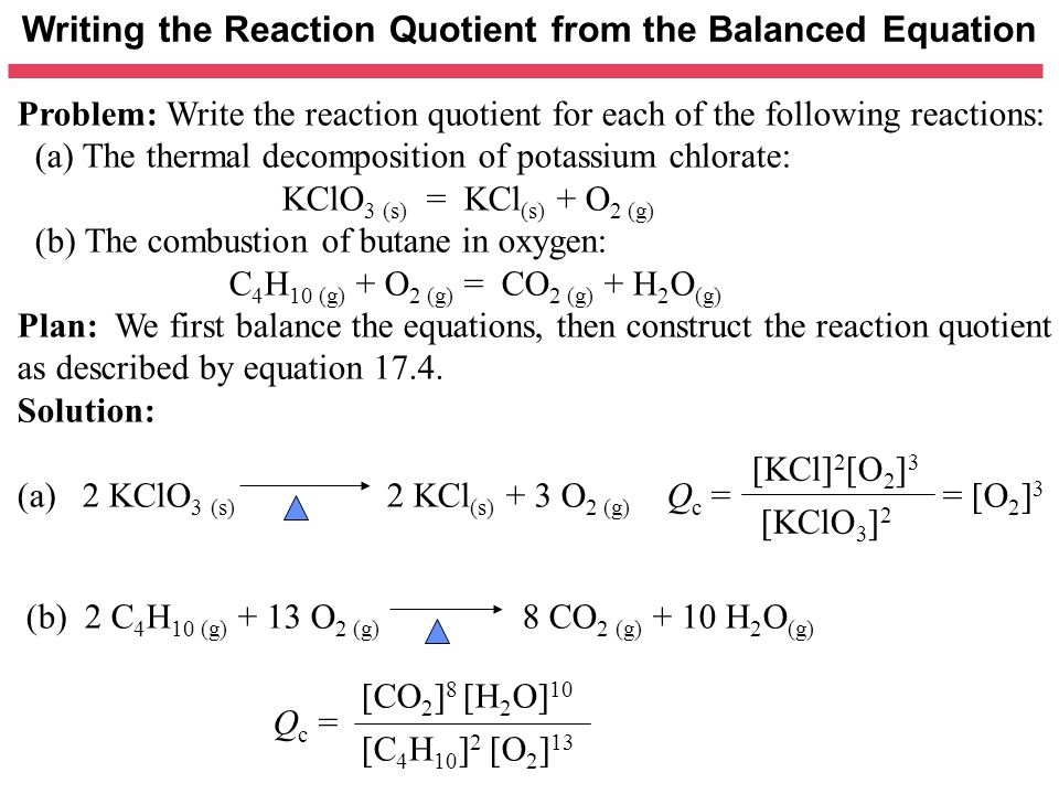 Writing the Reaction Quotient from the Balanced Equation