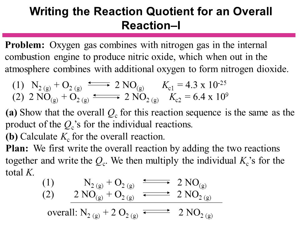 Writing the Reaction Quotient for an Overall Reaction–I