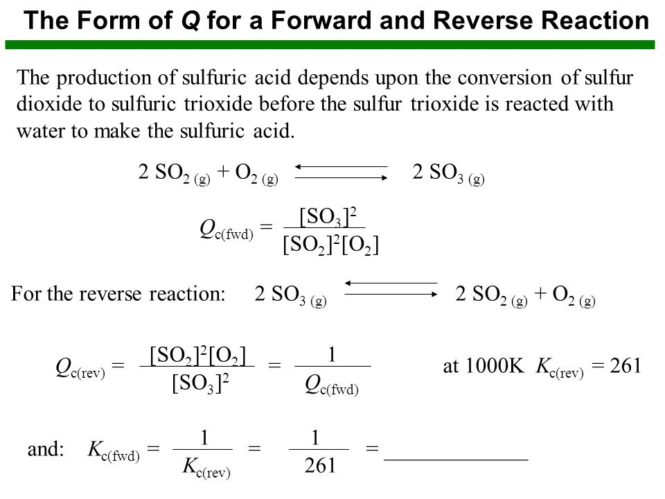 The Form of Q for a Forward and Reverse Reaction