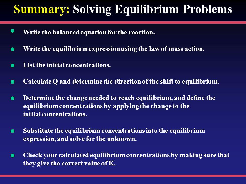 Summary: Solving Equilibrium Problems