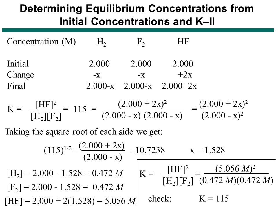 Determining Equilibrium Concentrations from Initial Concentrations and K–II