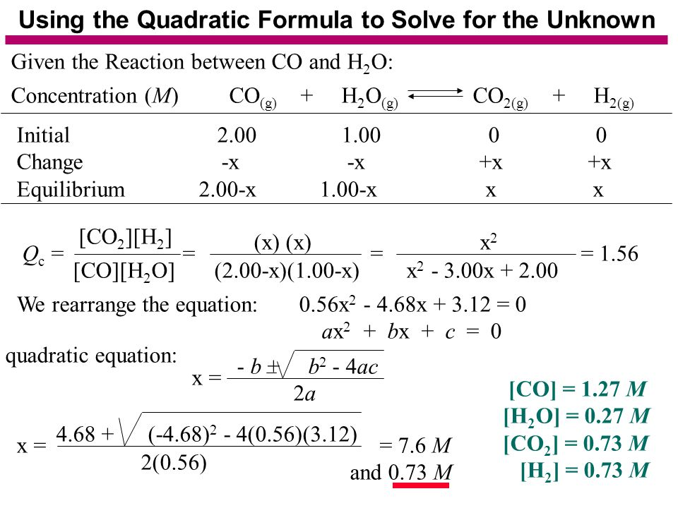 Using the Quadratic Formula to Solve for the Unknown