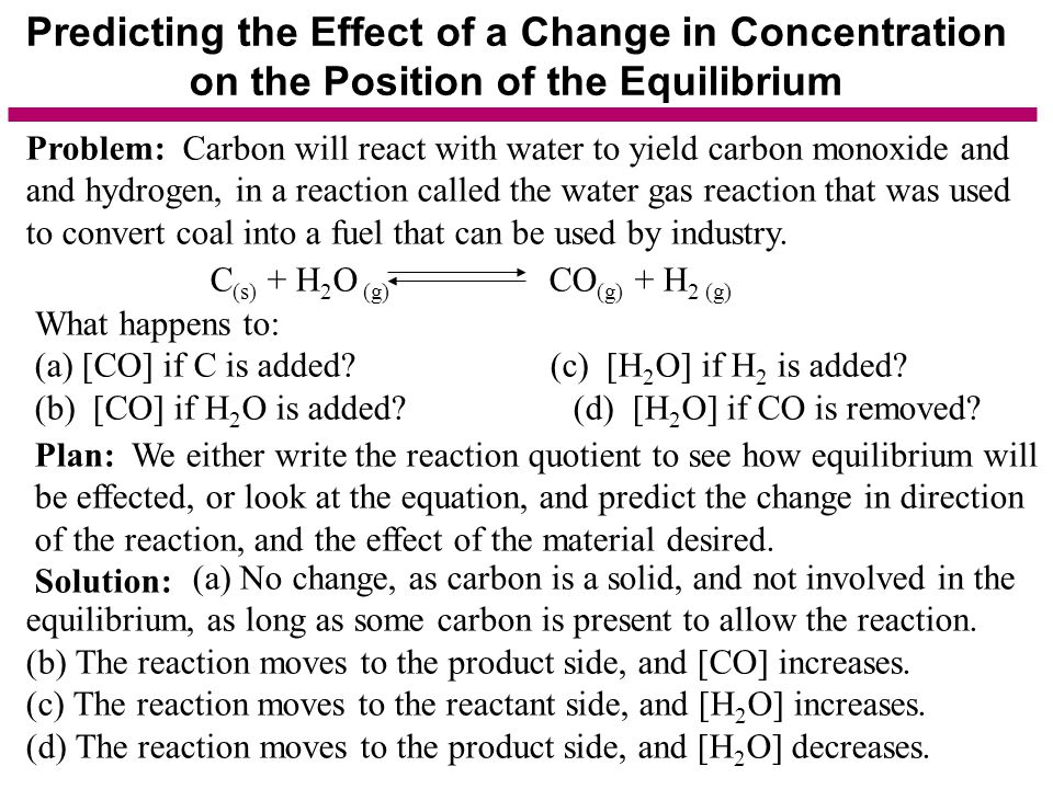 Predicting the Effect of a Change in Concentration on the Position of the Equilibrium