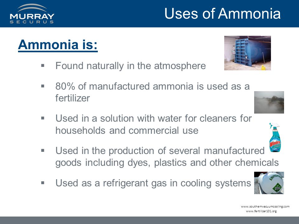 Uses of Ammonia Ammonia is: Found naturally in the atmosphere