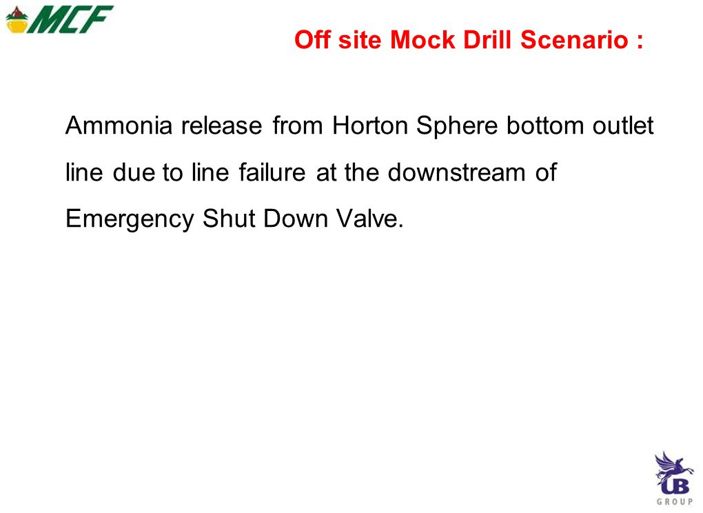 Off site Mock Drill Scenario :