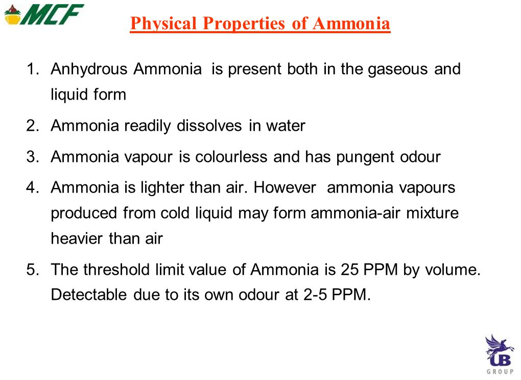 Physical Properties of Ammonia