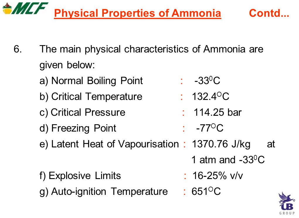 Physical Properties of Ammonia Contd...