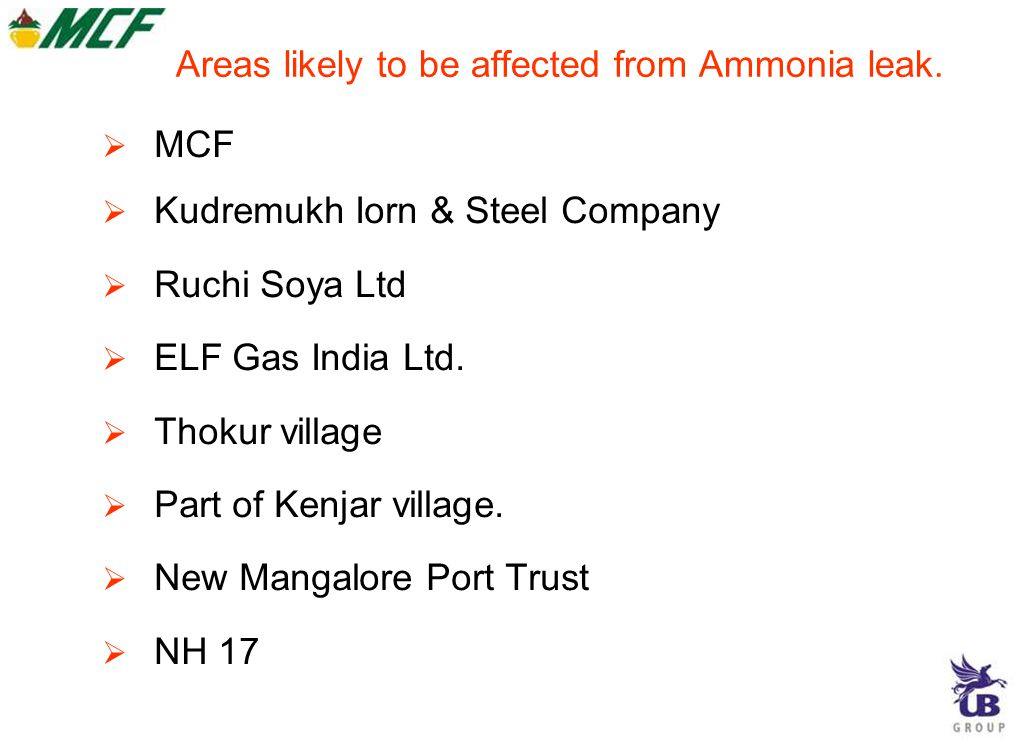 Areas likely to be affected from Ammonia leak.