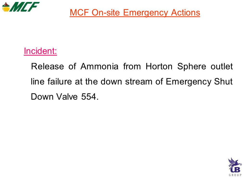 MCF On-site Emergency Actions