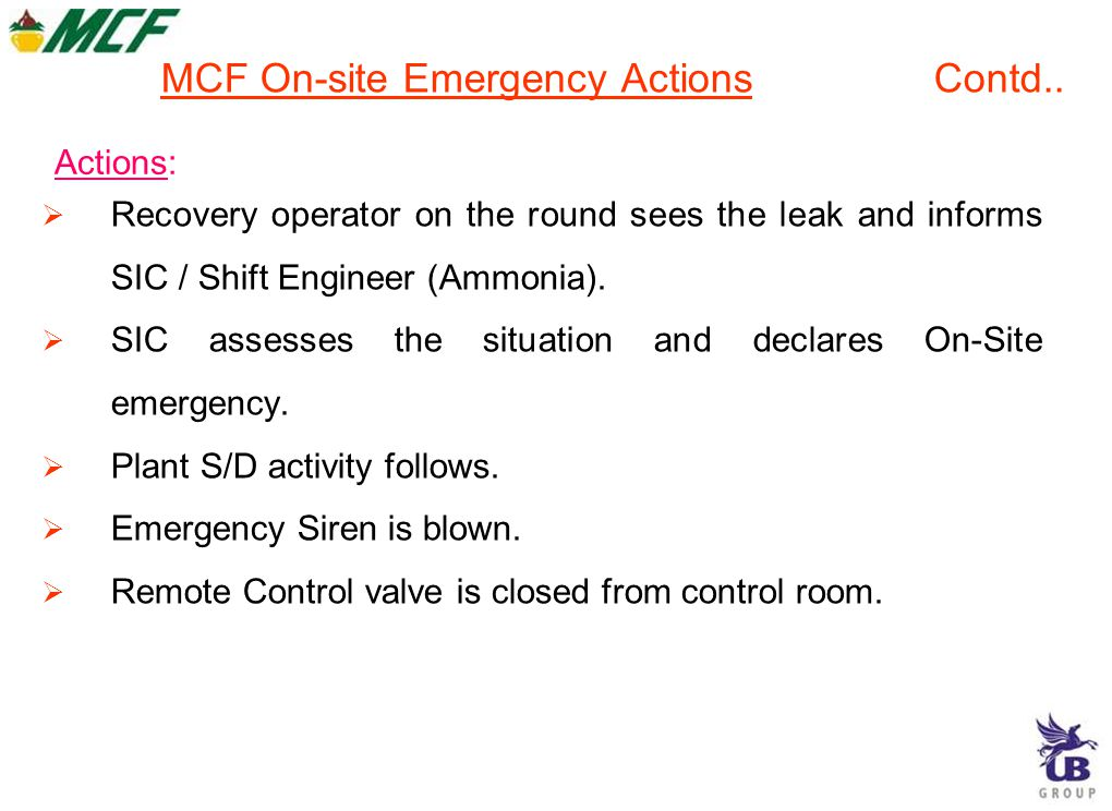 MCF On-site Emergency Actions Contd..