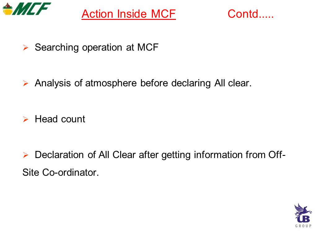 Action Inside MCF Contd.....