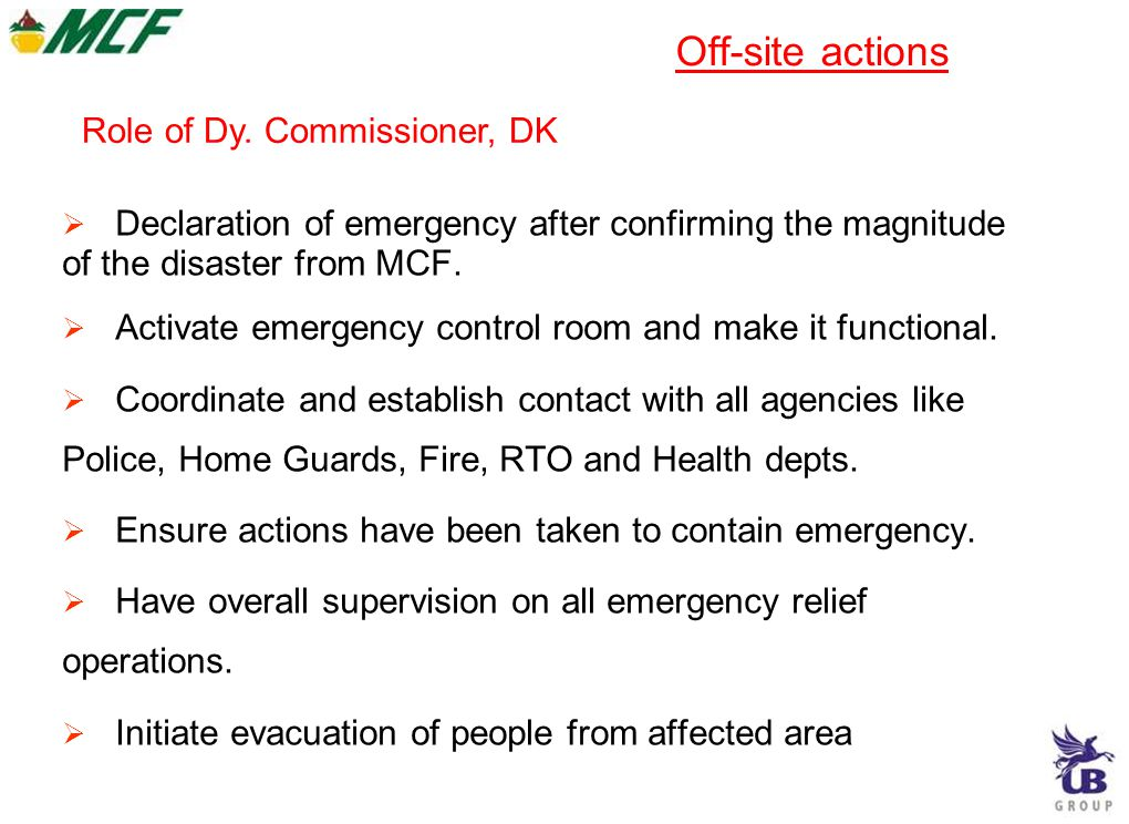 Off-site actions Role of Dy. Commissioner, DK