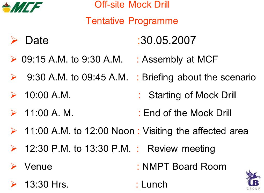 Off-site Mock Drill Tentative Programme