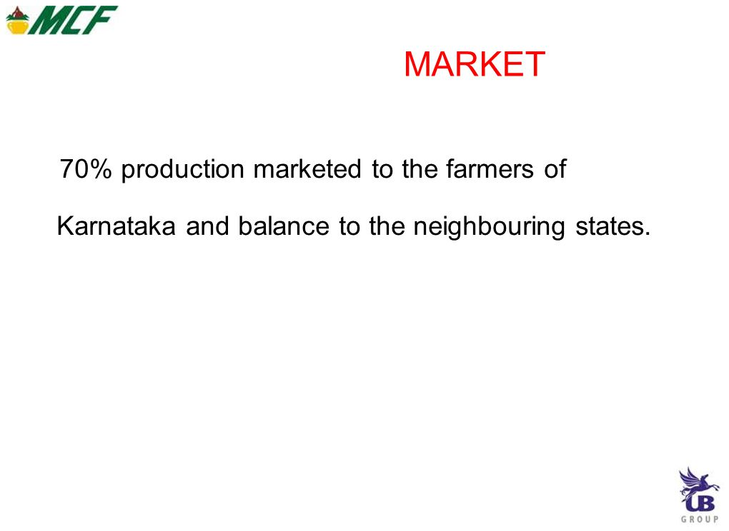 MARKET 70% production marketed to the farmers of