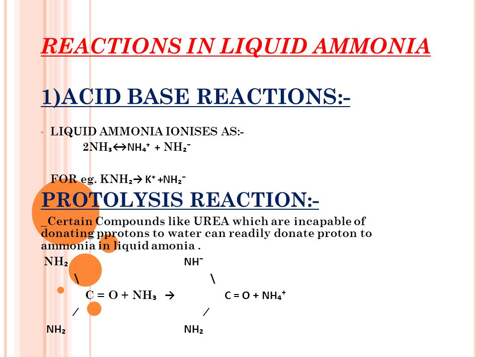 REACTIONS IN LIQUID AMMONIA 1)ACID BASE REACTIONS:-
