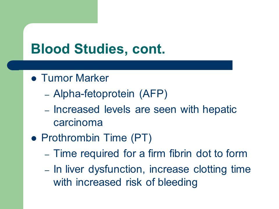 Blood Studies, cont. Tumor Marker Alpha-fetoprotein (AFP)