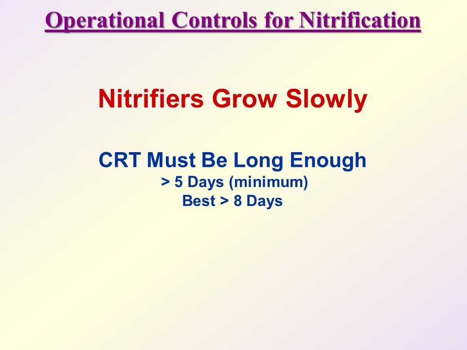 Operational Controls for Nitrification Nitrifiers Grow Slowly
