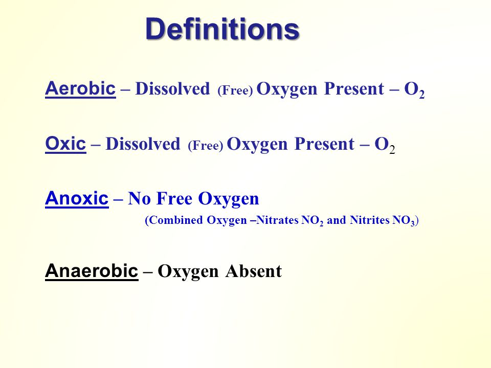 Definitions Aerobic – Dissolved (Free) Oxygen Present – O2