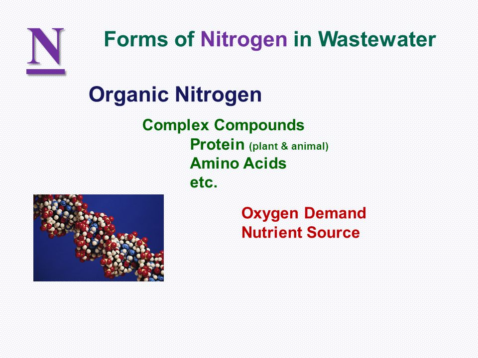 N Forms of Nitrogen in Wastewater Organic Nitrogen Complex Compounds
