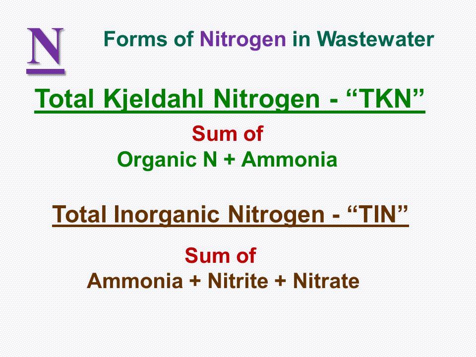 N Total Kjeldahl Nitrogen - TKN Total Inorganic Nitrogen - TIN