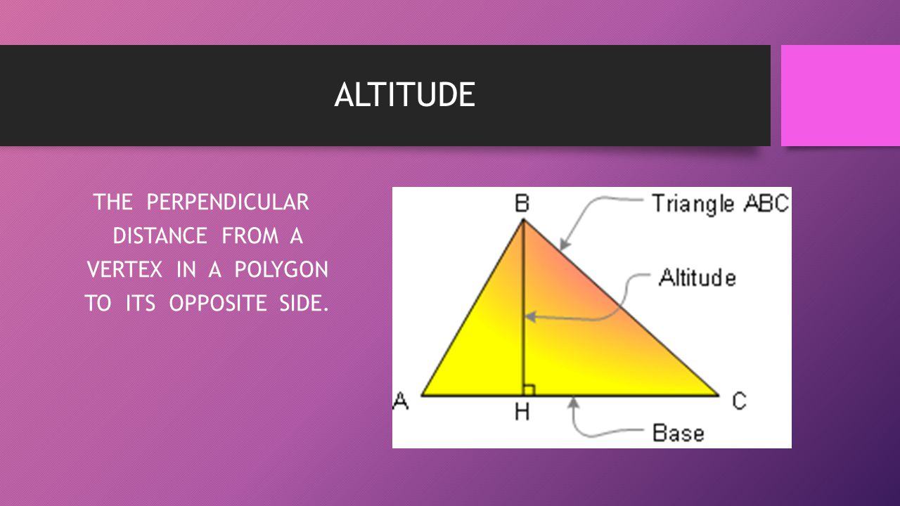 ALTITUDE THE PERPENDICULAR DISTANCE FROM A VERTEX IN A POLYGON TO ITS OPPOSITE SIDE.