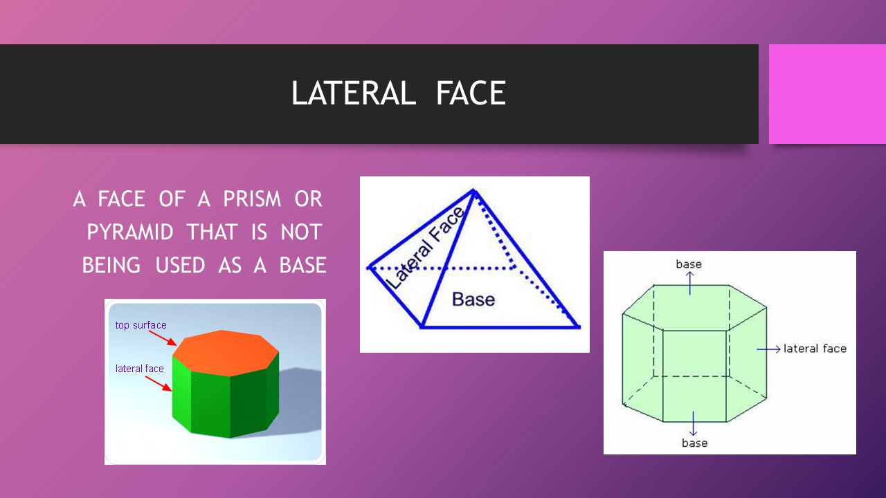 A FACE OF A PRISM OR PYRAMID THAT IS NOT BEING USED AS A BASE